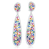 Long Multi Colored Baguette Oval Earrings