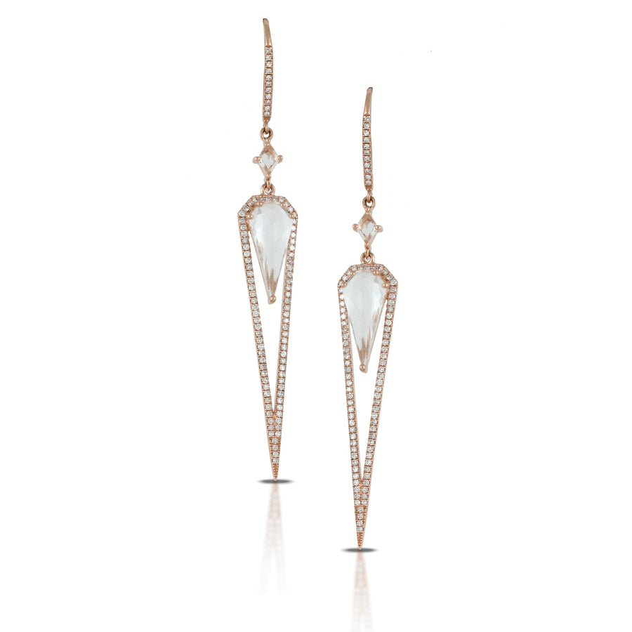 Rose Gold White Topaz Drop Earrings