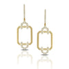Yellow Gold Rectangular Art Deco Diamond Drop Earrings