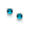 White Gold Blue Topaz Diamond Stud Earrings