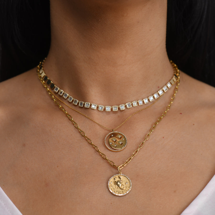 Yellow Gold Baguette Diamond Choker Necklace