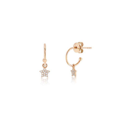 Mini Hoops With Diamond Star Drop Earring