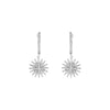 Silver Faux Diamond Starburst Drop Earrings
