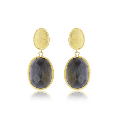 Double Drop Black Cats Eye Earring