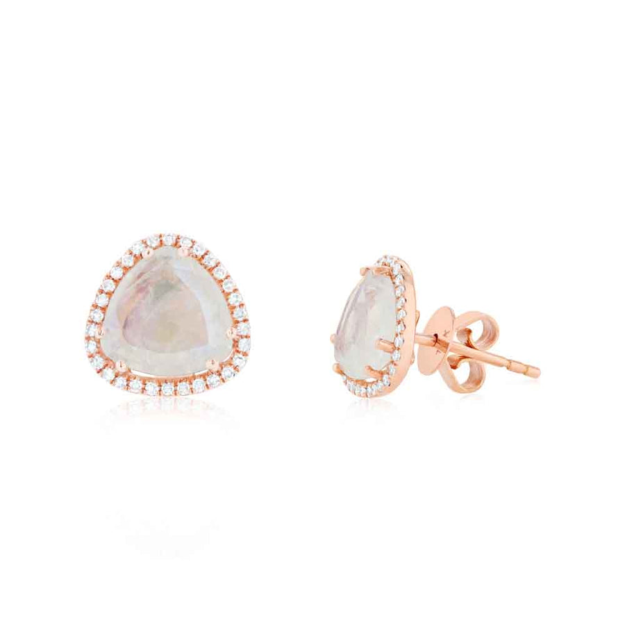 Diamond And Moonstone Stud Earrings