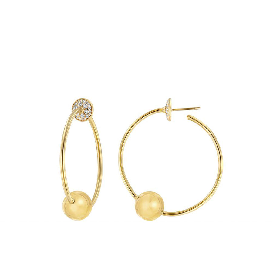 Gold And Diamond Sphere Hoop Earrings