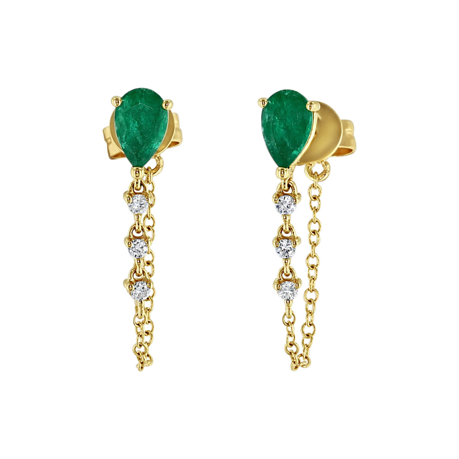 Yellow Gold Emerald And Diamond Chain Drop Earrings