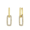 Gold Diamond Double Link Drop Earrings