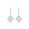 White Gold Diamond Clover Drop Earrings