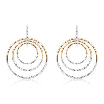 Multi Circle Gold And Diamond Hoop Earrings