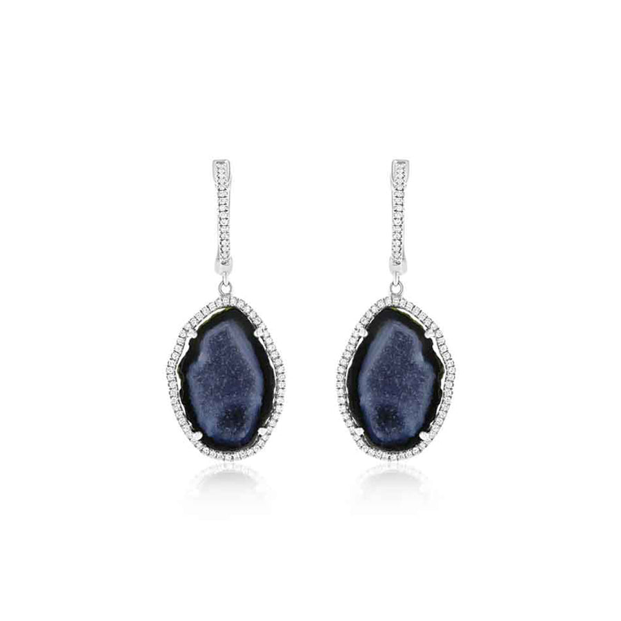 White Gold Diamond Blue Geode Drop Earrings