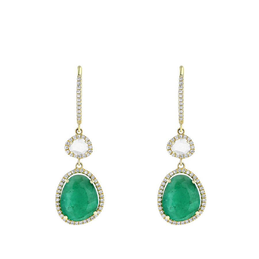 Yellow Gold Diamond Emerald Double Drop Earrings