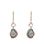 Rose Gold Diamond Labradorite Double Drop Earrings