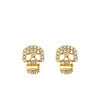 Yellow Gold Diamond Skull Stud Earrings