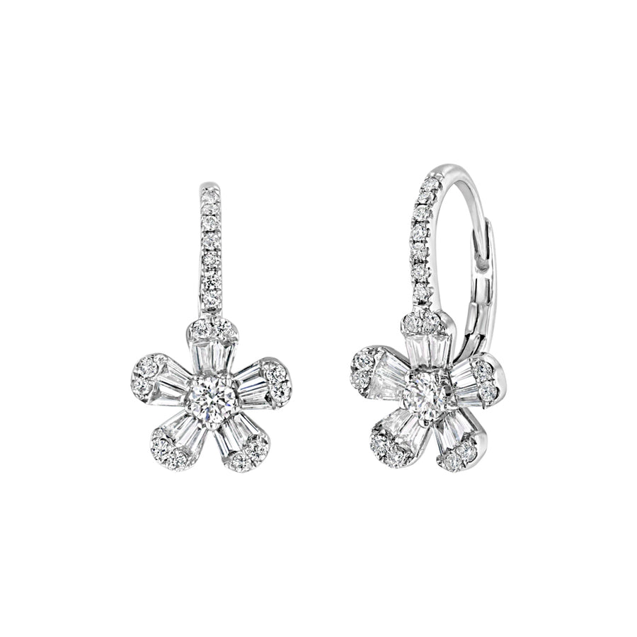 White Gold Diamond Flower Drop Earrings