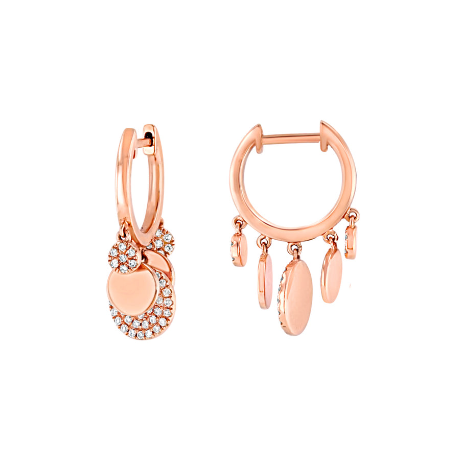 Rose Gold Diamond Dangling Disk Mini Hoop Earrings