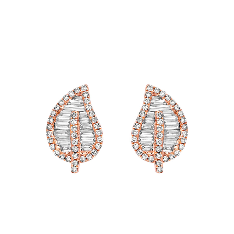 Gold And Diamond Leaf Stud Earrings