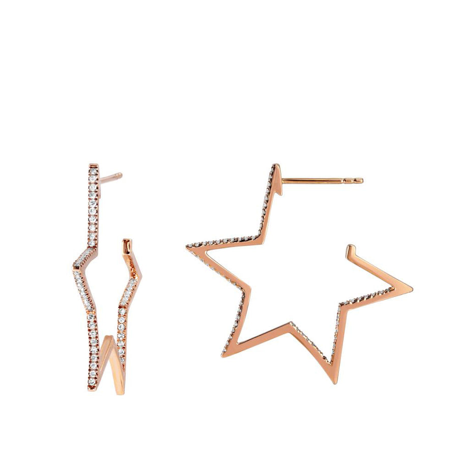 Open Star Diamond Earrings
