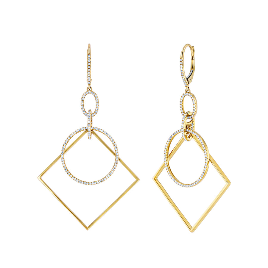 Yellow Gold Geometric Hoop Earrings