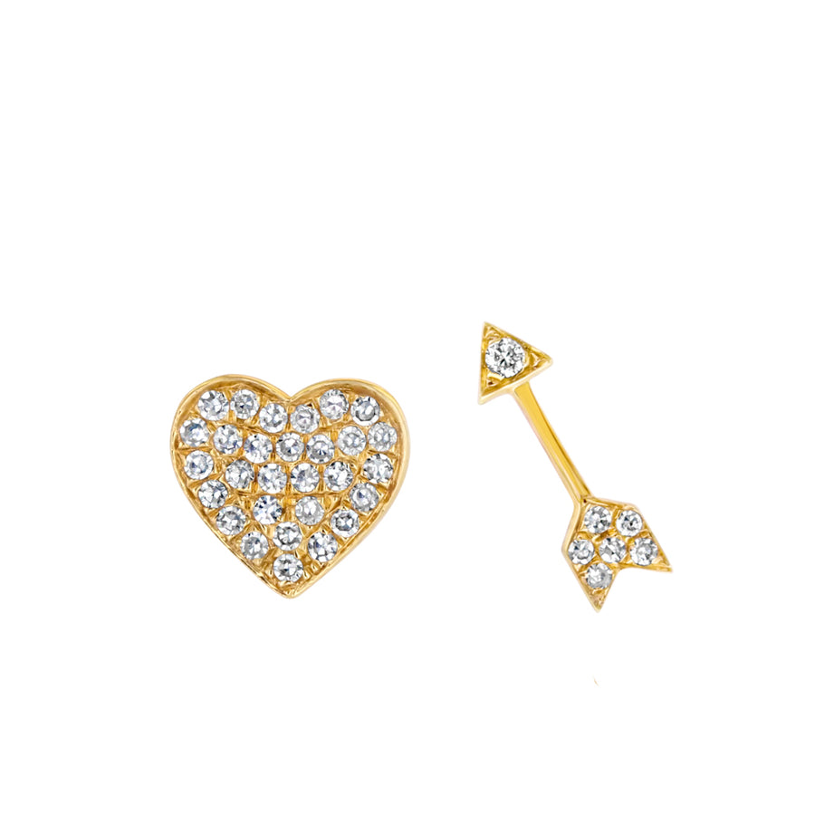 Diamond Heart And Arrow Stud Earrings