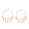 Double Pearl Drop Hoop Earrings