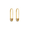 Gold And Diamond Safety Pin Earrings