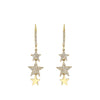 Gold Triple Star Drop Earrings