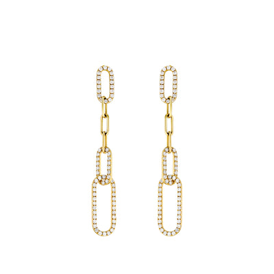 Gold Diamond Chain Link Drop Earrings