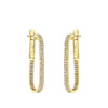 Gold Diamond Rectangular Hoop Earrings