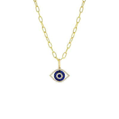 Yellow Gold And Blue Sapphire Evil Eye Charm