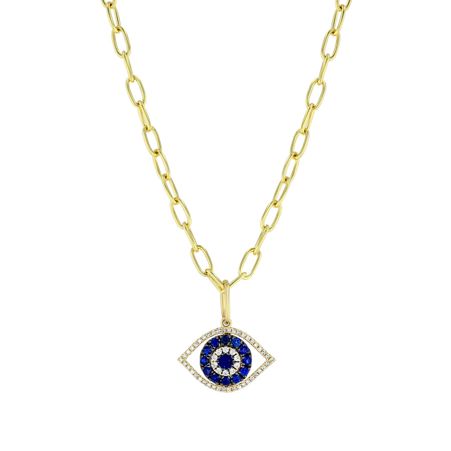 Yellow Gold And Blue Sapphire Evil Eye Necklace