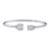 White Gold Open Twist On Diamond Baguette Bangle