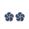 Silver Large Blue Sapphire Flower Stud Earrings