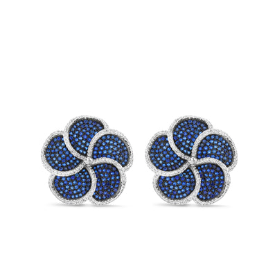Large Blue Flower Stud Earrings
