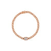 Rose Gold Diamond Baguette Cuban Chain Link Bracelet