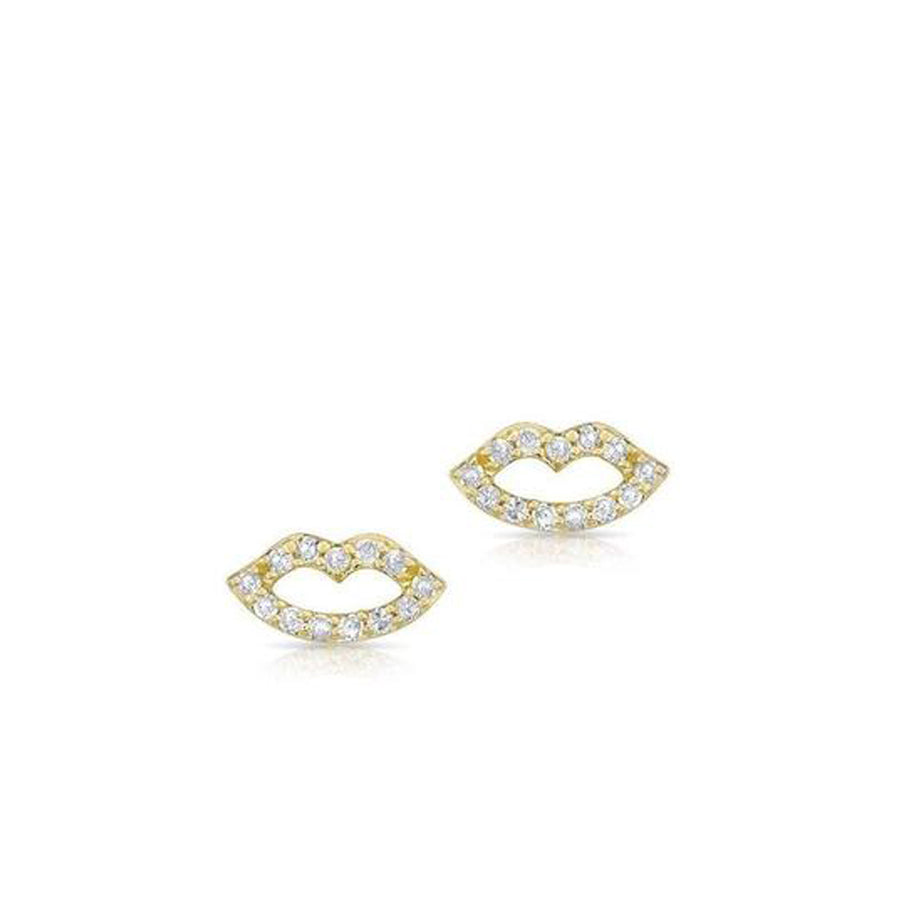 Yellow Gold Diamond Lip Stud Earrings