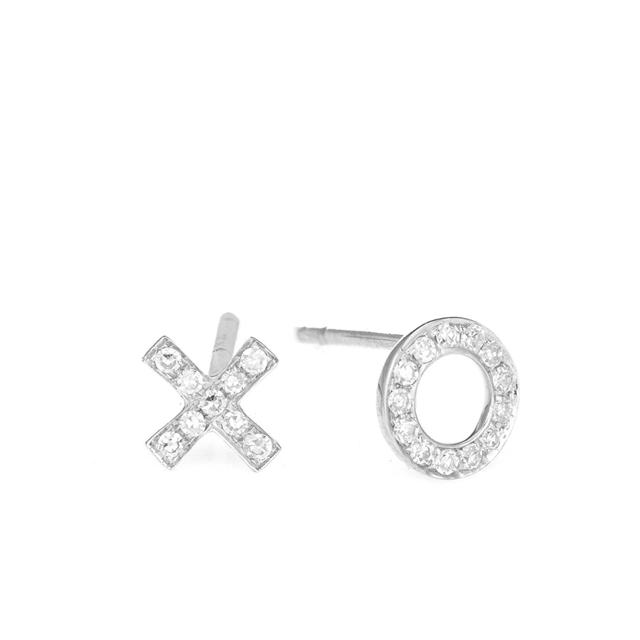 Gold XO Diamond Stud Earrings