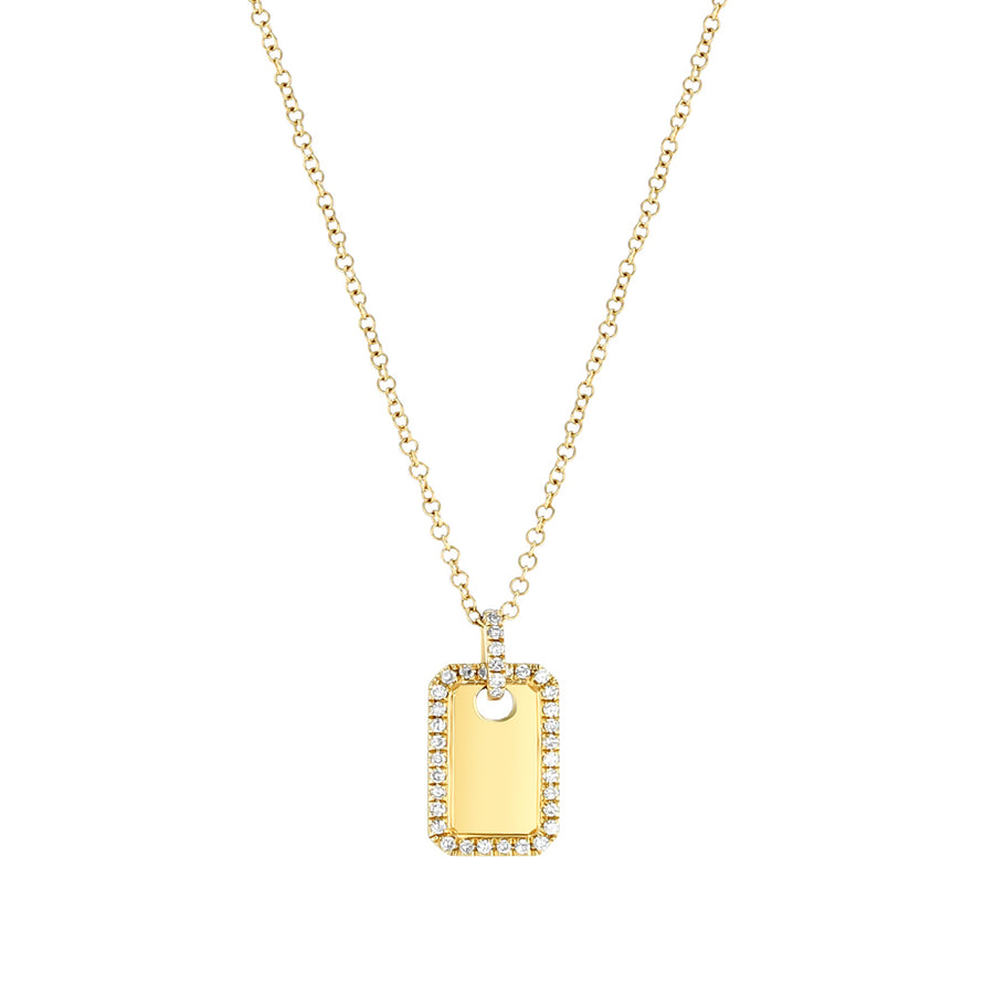 Yellow Gold Diamond Mini Engravable ID Bar Necklace