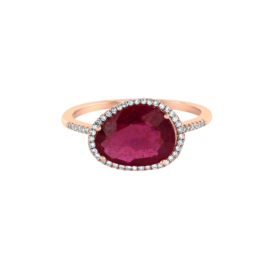Rose Gold Ruby And Diamond Cocktail Ring