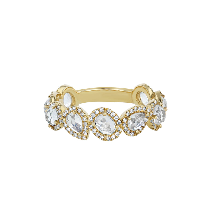 Yellow Gold Moonstone And Diamond 3/4 Eternity Ring