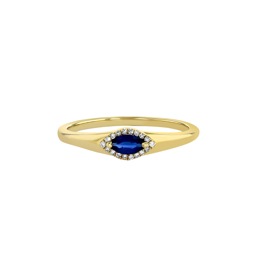 Yellow Gold Blue Sapphire And Diamond Pinky Ring