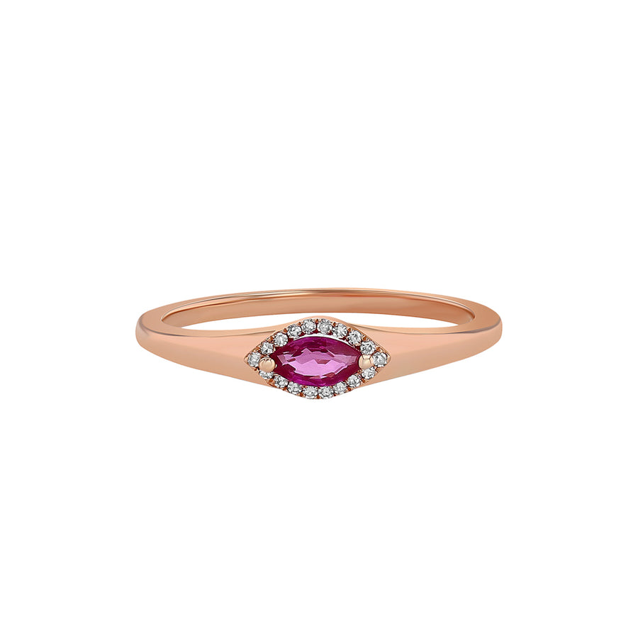 Rose Gold Ruby And Diamond Pinky Ring