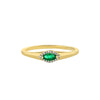 Yellow Gold Emerald And Diamond Pinky Ring