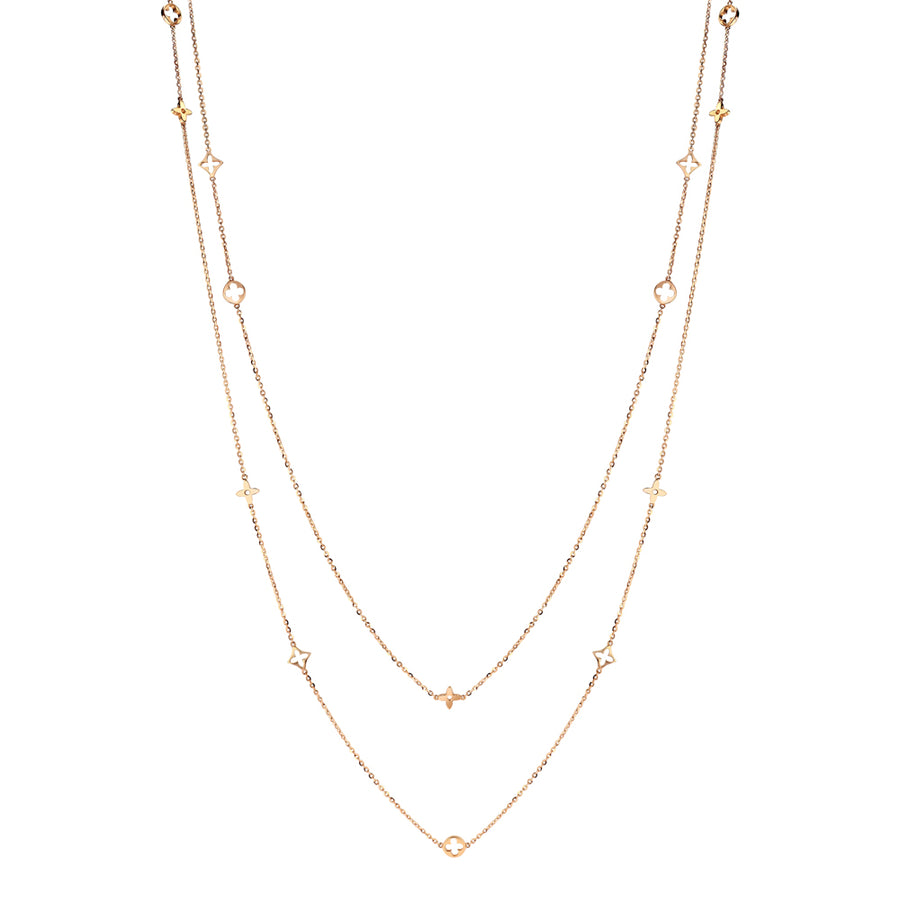 Rose Gold Double Chain Clover Necklace
