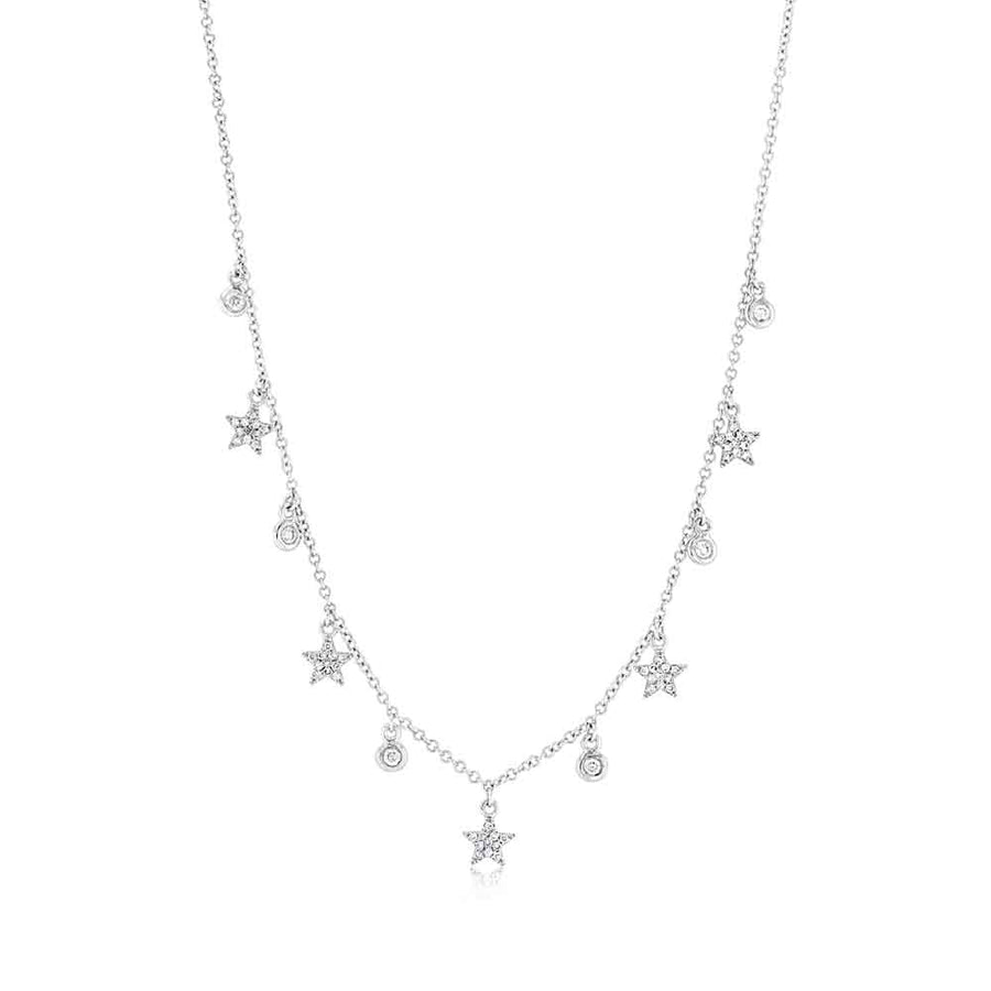 Star And Bezel Diamond Dangle Necklace