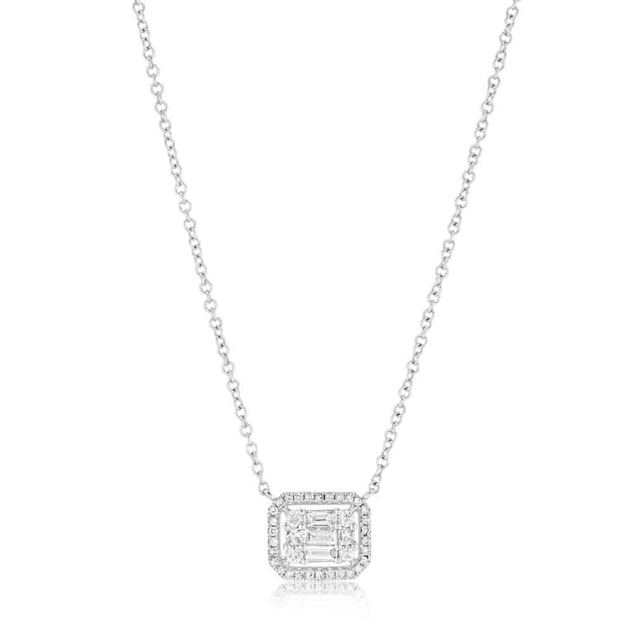 White Gold Diamond Baguette Necklace