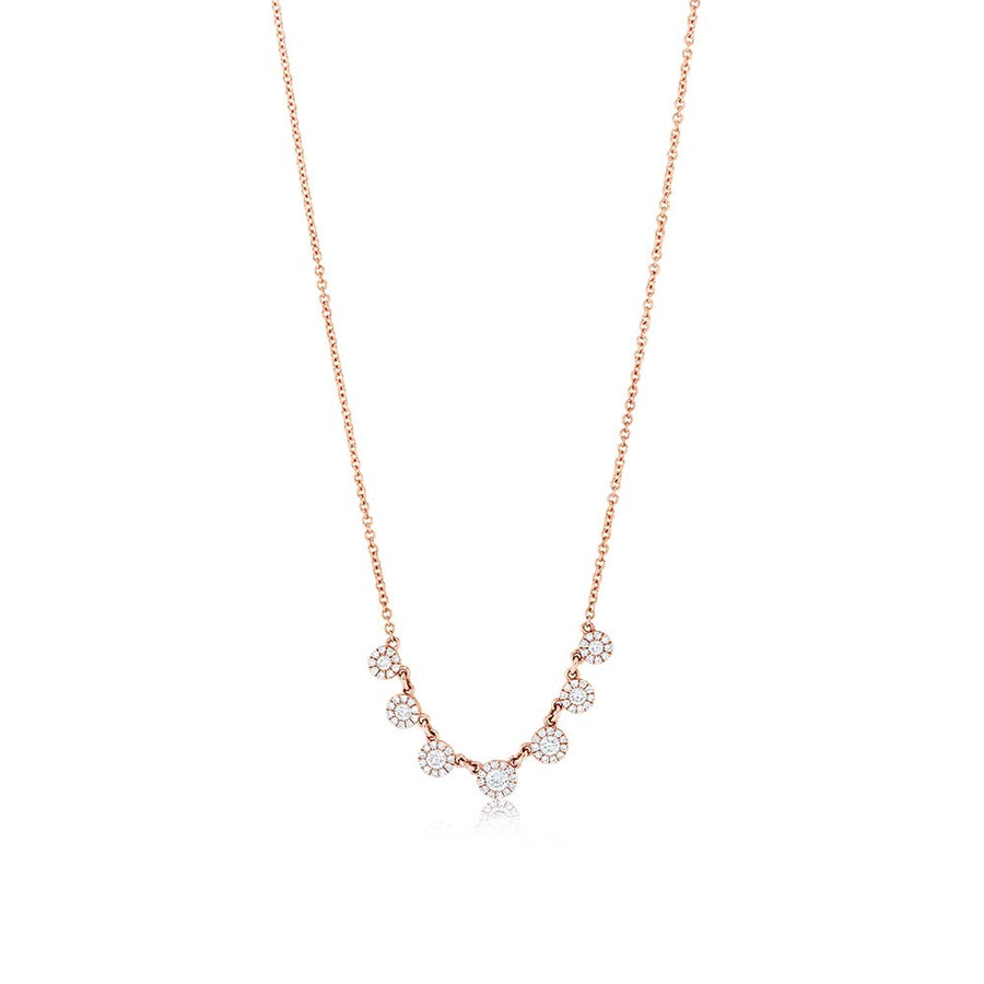 Rose Gold 7 Diamond Necklace