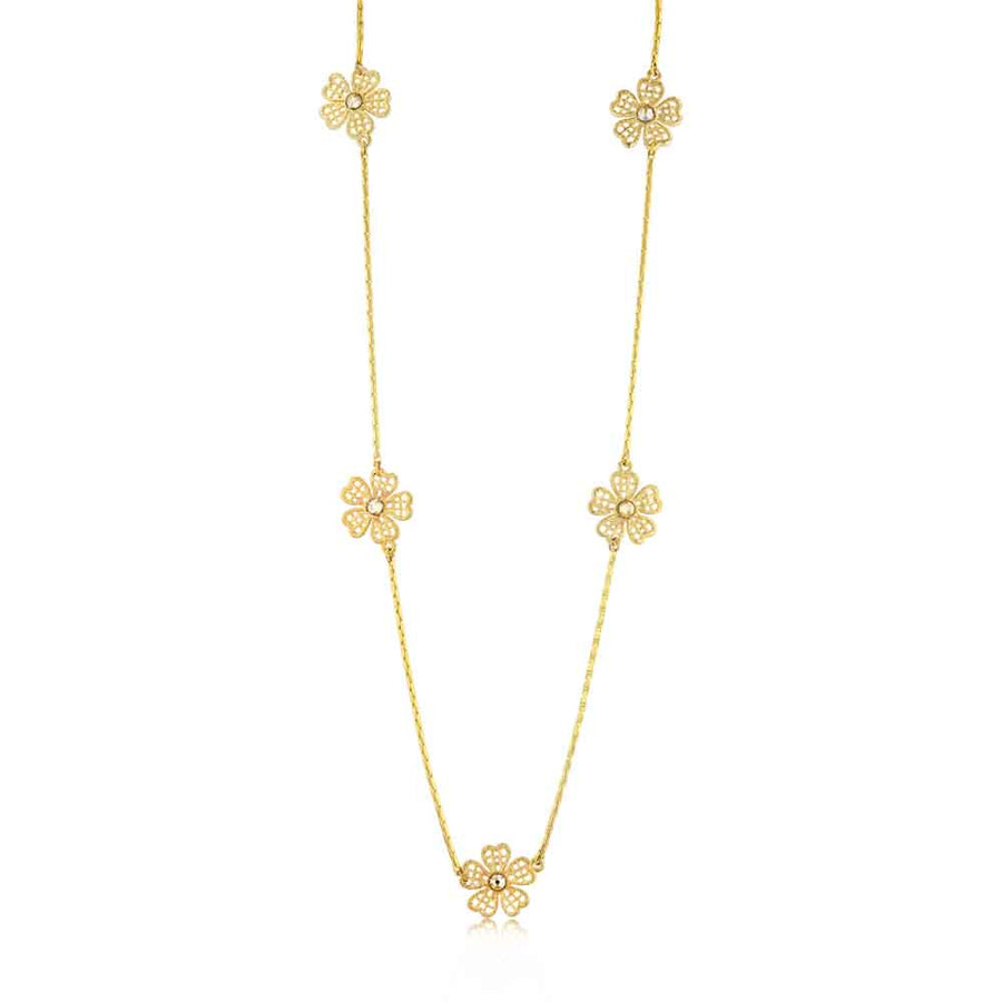 Yellow Daisy Flower Chain Necklace