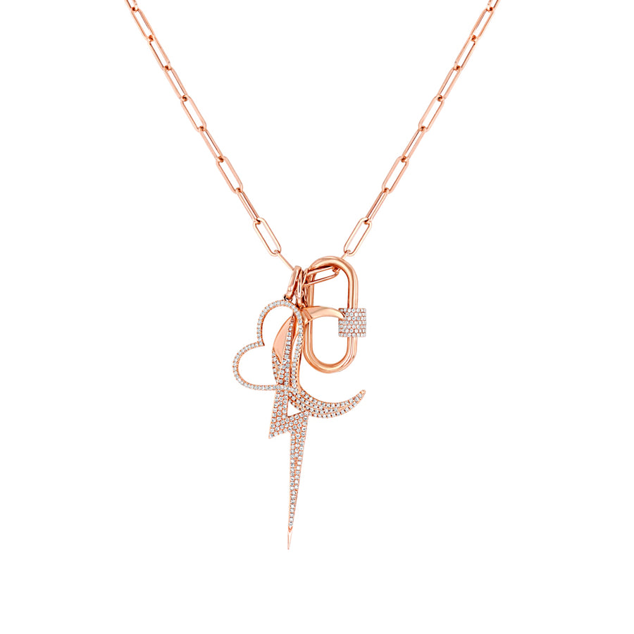 Rose Paper Clip Link Chain Necklace