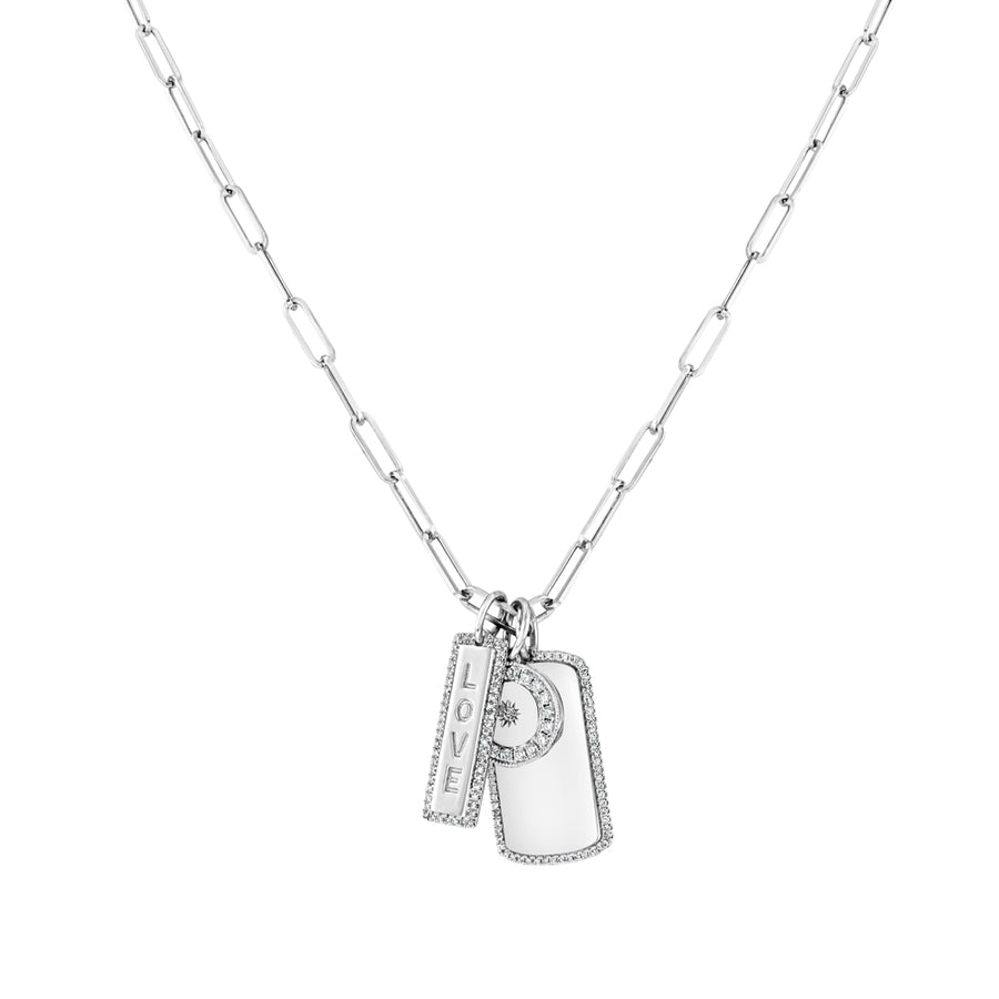 White Gold Paper Clip Triple Charm Necklace